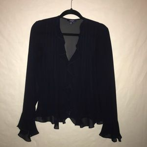 Chaps Sheer Black Button Down Blouse - Size 6